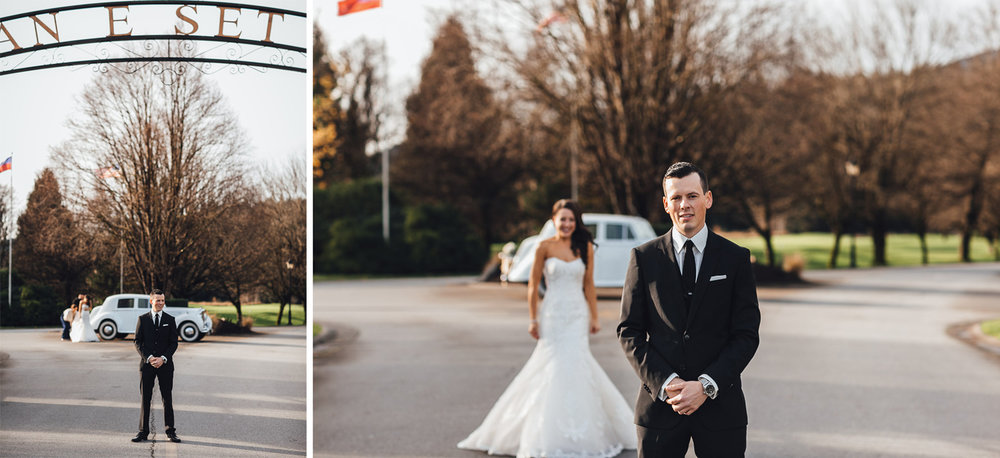 first look swaneset pitt meadows wedding photography