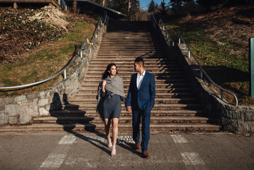 vancouver engagement photography in stanley park candid walking sunset