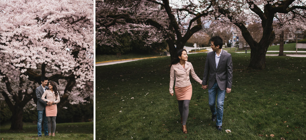 cherry blossom engagement photography in vancouver at UBC