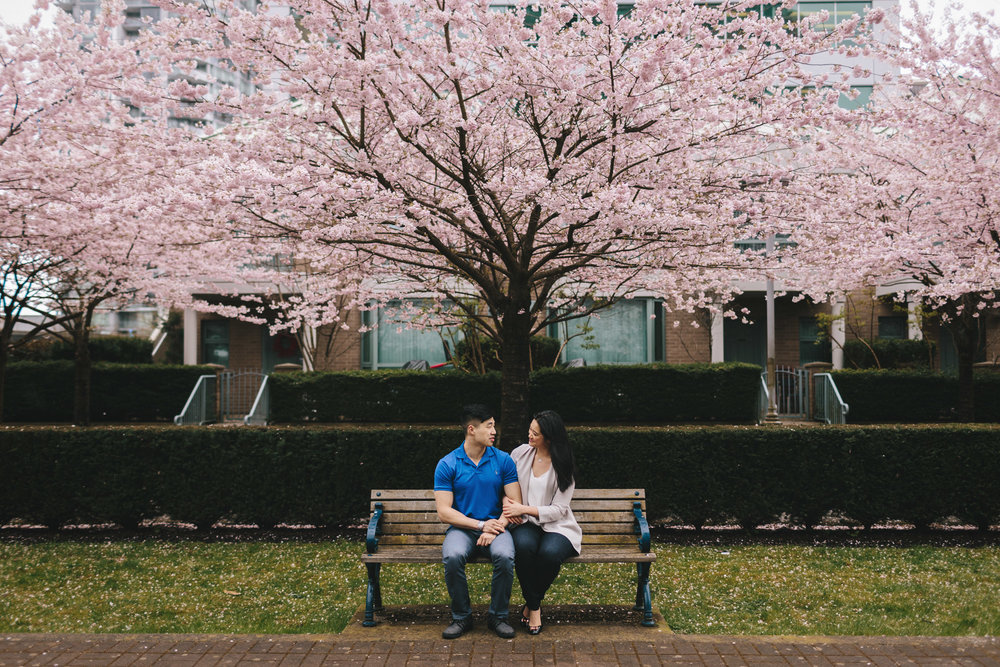cherry blossom engagement photography north burnaby bc