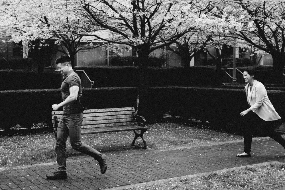 cherry blossom engagement photography north burnaby bc rain