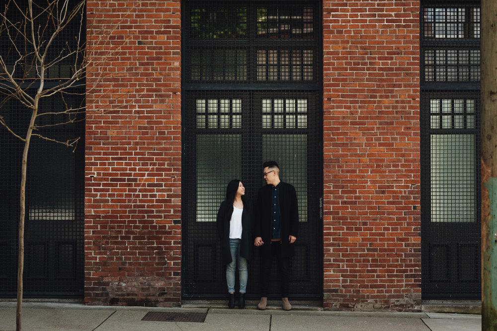 gastown bricks engagement photography in vancouver, bc