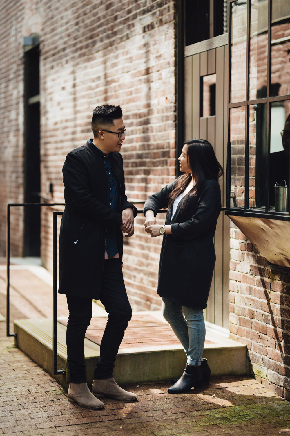 jenny and kevin engagement photography in gastown candid vsco vancouver