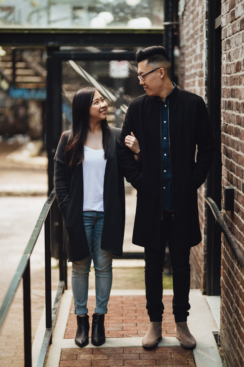 couple candid gastown engagement photography vsco spring