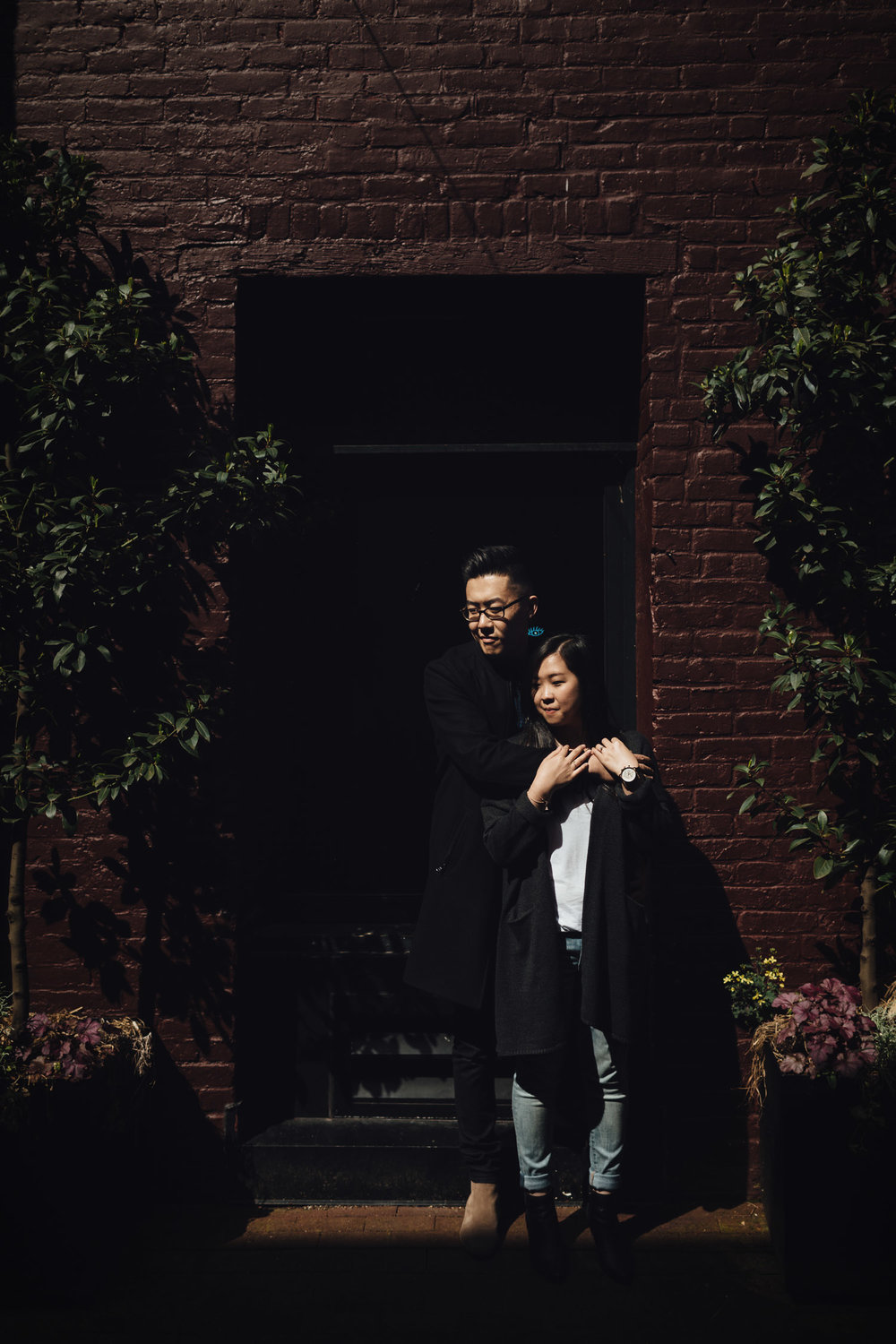 gastown blood alley engagement photography harsh light vsco vancouver bc