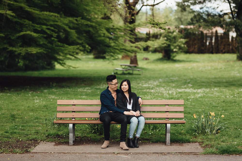 stanley park rose garden engagement photography bench sitting candid vancouver bc