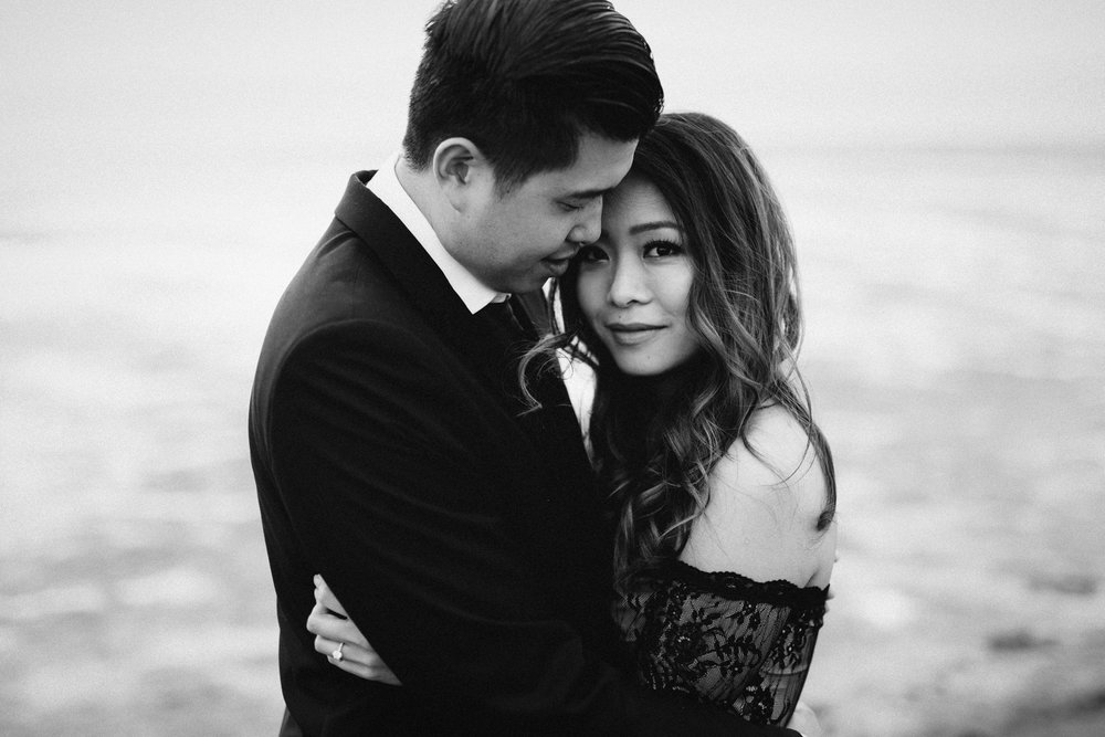 iona beach black and white engagement photography vsco richmond bc
