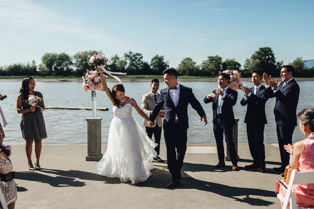 ubc boathouse wedding photography ceremony dock summer