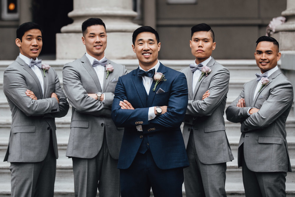 bridal party portrait groomsmen at university women's club of vancouver