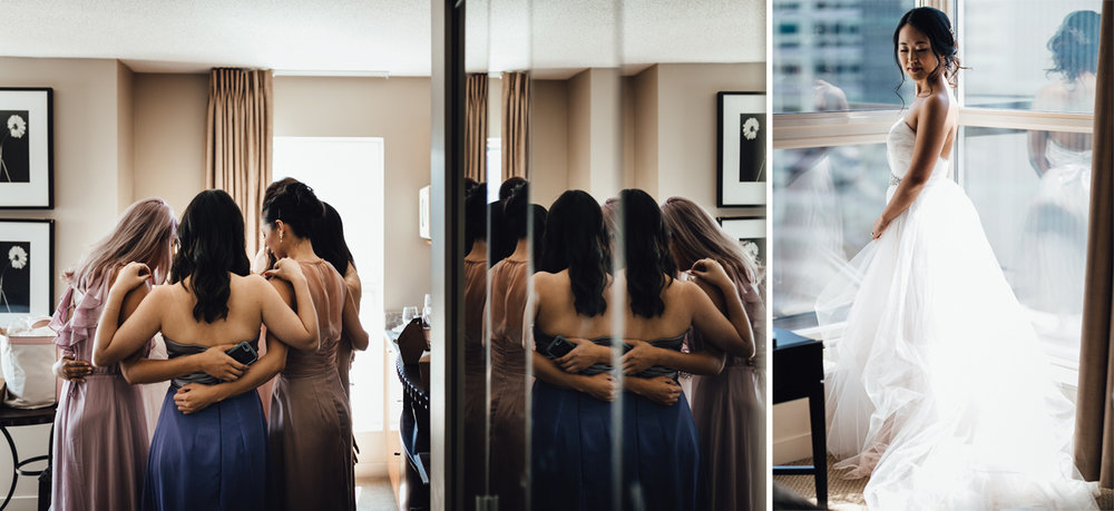 bride and bridesmaids christian prayer getting ready in coal harbour wedding photography