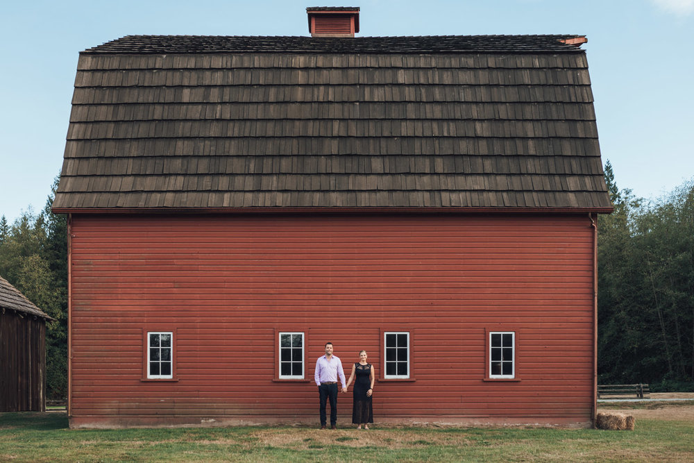 Campbell Valley Park red barn engagement photography in Langley BC