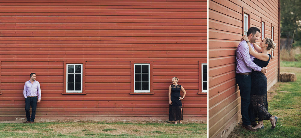 Red barn at Campbell Valley Park in Langley BC engagement photography