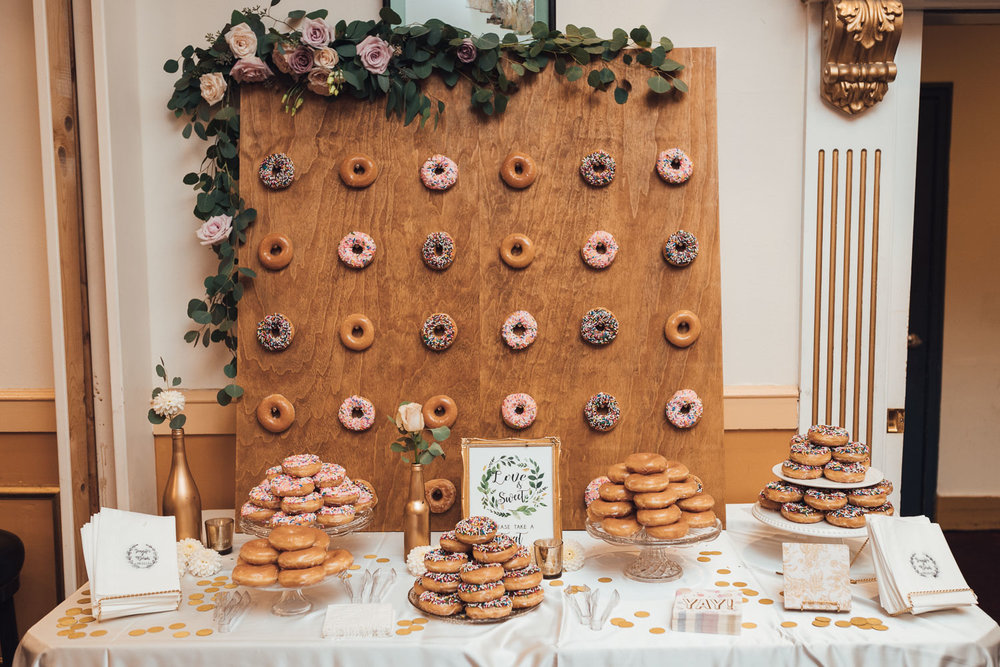 donut wall continental seafood restaurant wedding reception photography