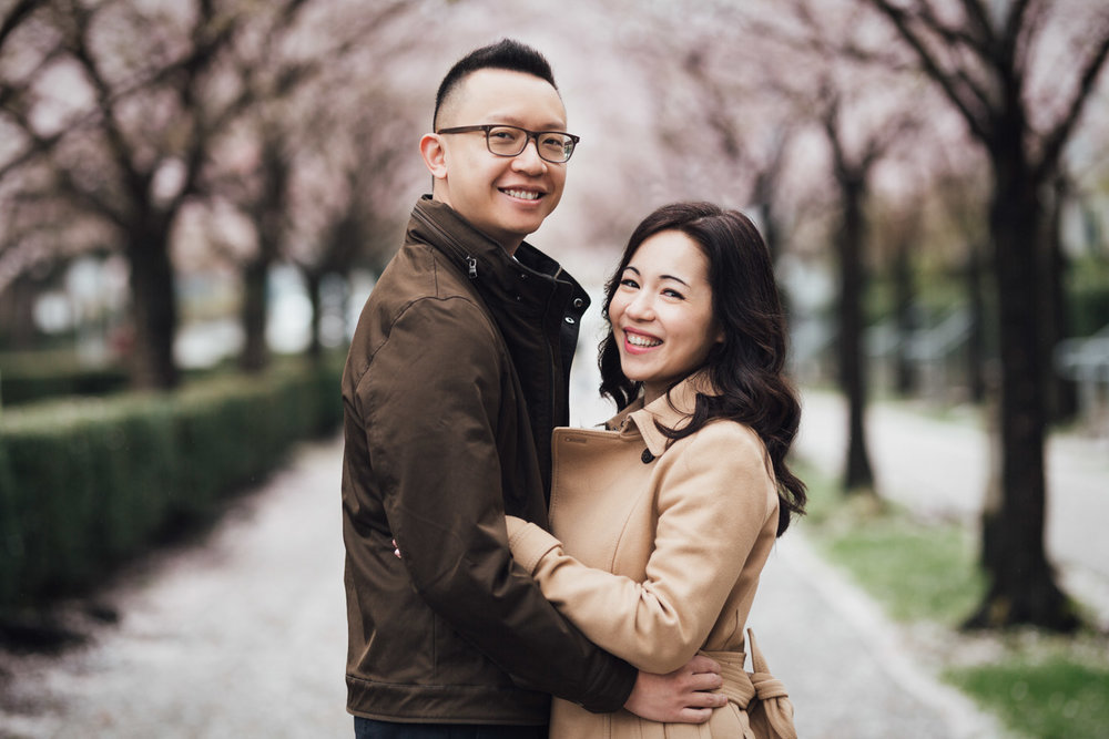 vancouver engagement photography cherry blossom season