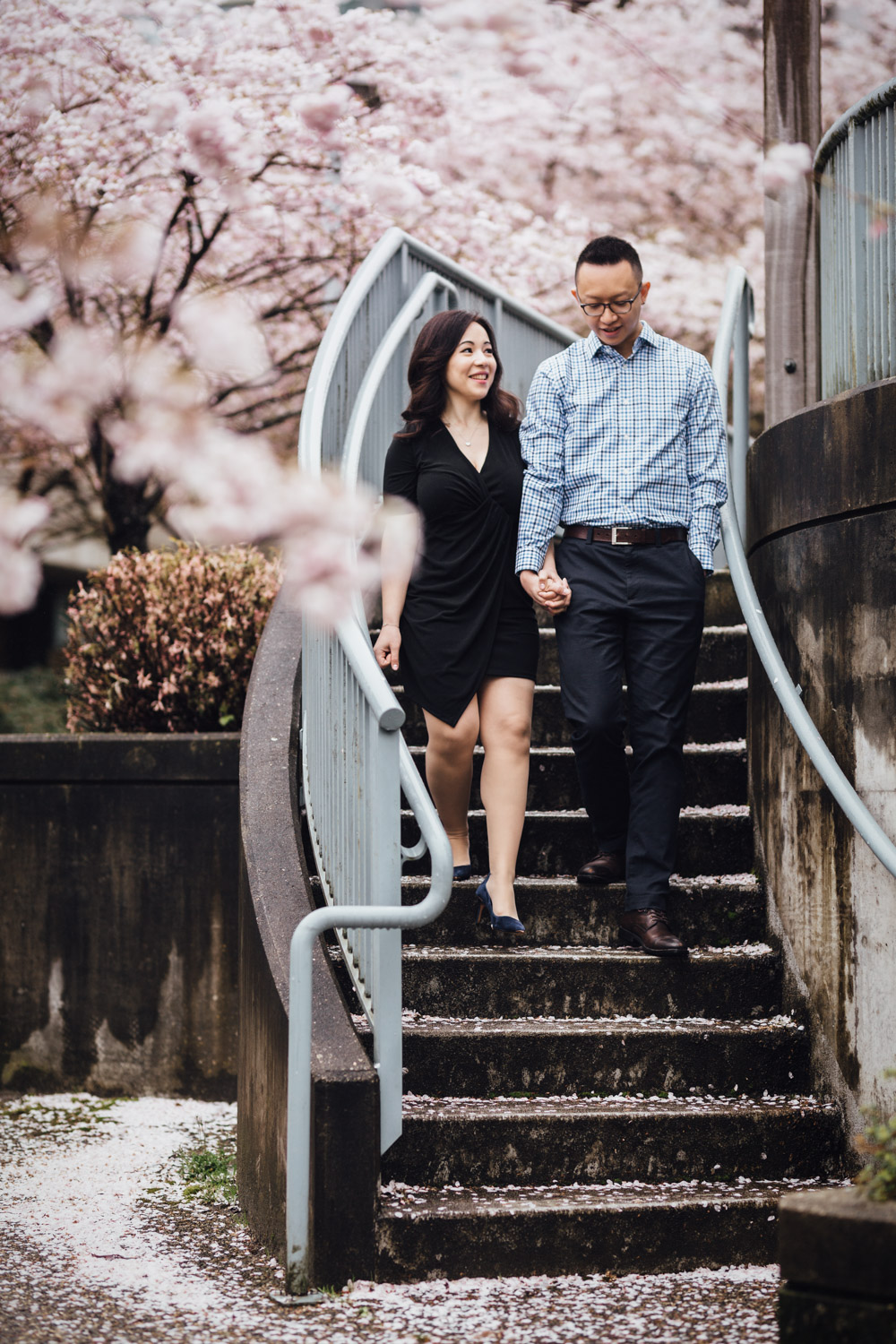 vancouver engagement photography cherry blossoms candid