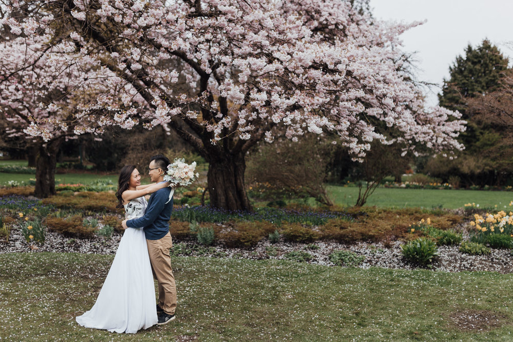 vancouver cherry blossom spring engagement photography