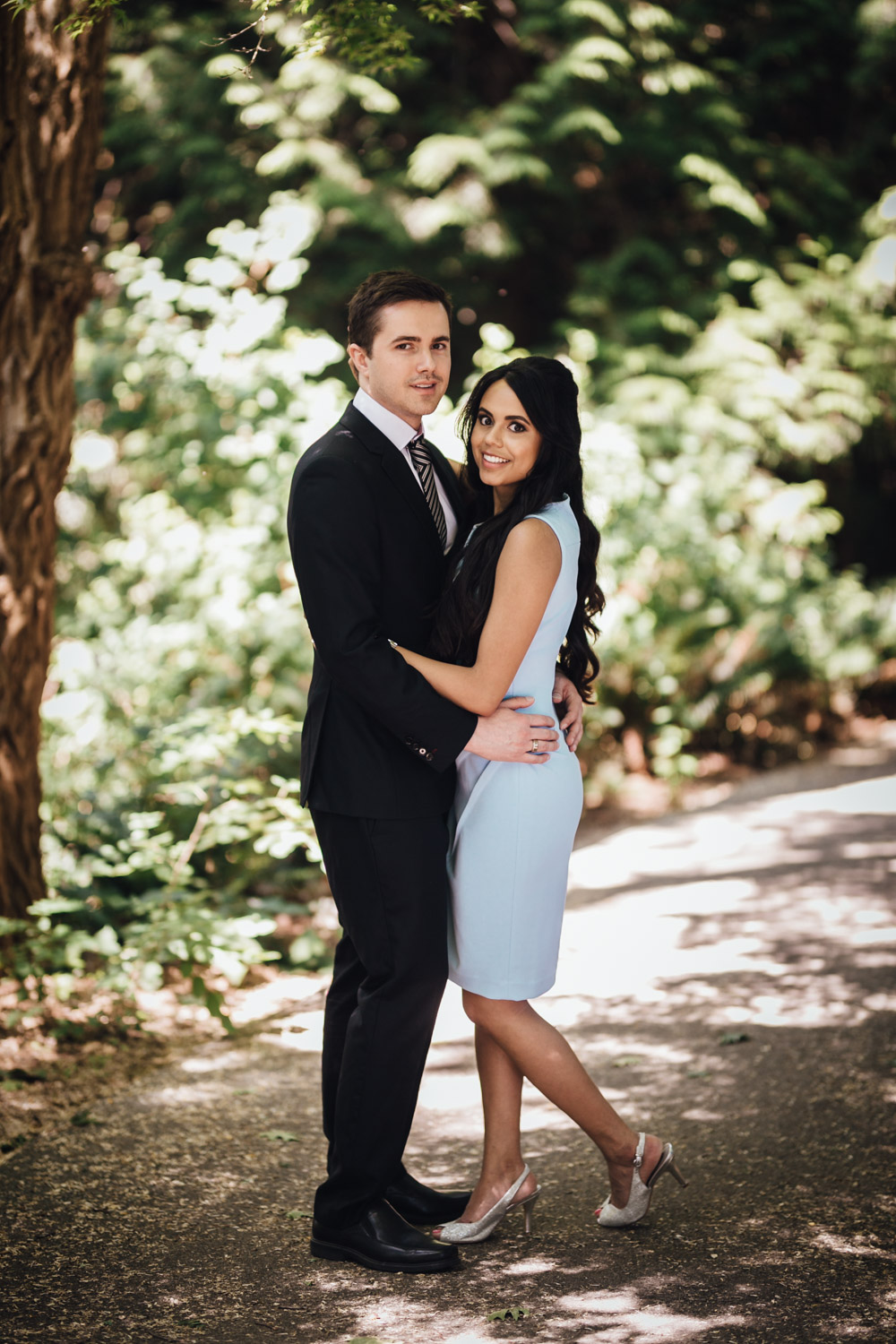 the duke vancouver city skyline view engagement photography
