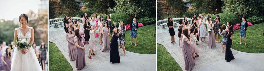 hycroft terrace bouquet toss bride vancouver wedding photography