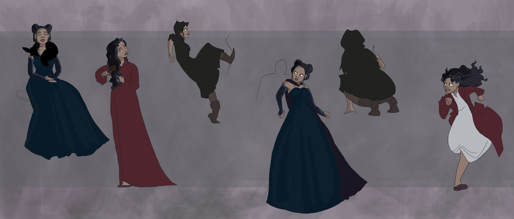 Action poses of the protagonist, Proserpina, for a video game concept of the same name.  Developed for grad-level Concept Design with Professor Melissa Curtin at SCAD.