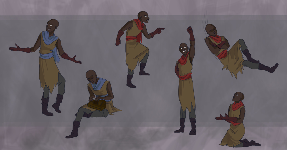 "Action poses of Orfeo, a rebellion leader, for ""Proserpina"".  Developed for grad-level Concept Design with Professor Melissa Curtin at SCAD."