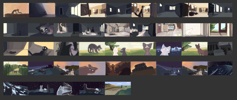 "Color keys for ""Homebound"", my MFA thesis film at SCAD.  Currently in production."