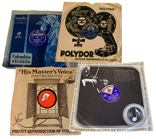 Big record companies put their music in sleeves with elaborate designs and advertisements.