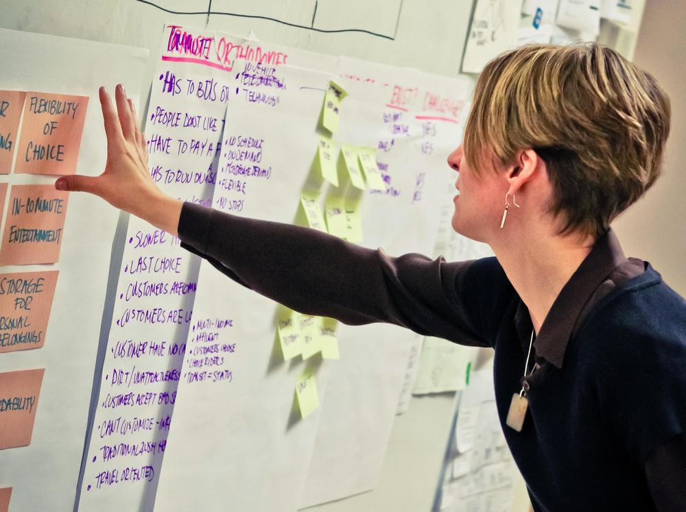 The author,  Carolyn Jeskey , in action at a design thinking workshop. Photo by  Daniel Lombardi