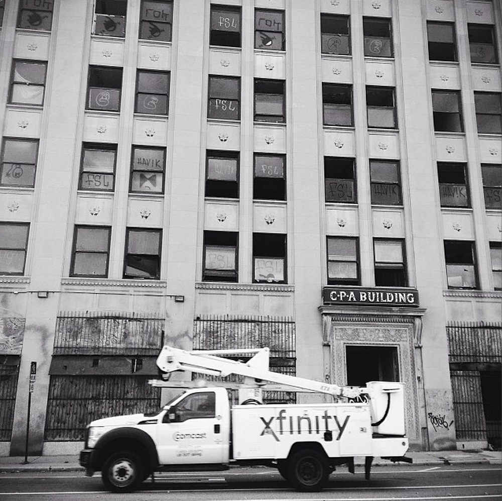 Xfinity truck outside of the CPA building