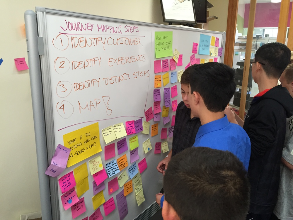 Students begin to dot vote for their favorite ideas following the brainstorm session.