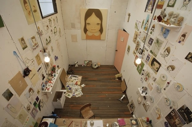 The workspace of Yoshitomo Nara, a favorite painter of mine.