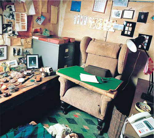 Desk of Roald Dahl, children's book author. I read that he kept everything he needed within arm's reach so that he wouldn't have to stop working.