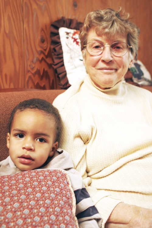Leafy and his Great-Grandma, just before he turned two.