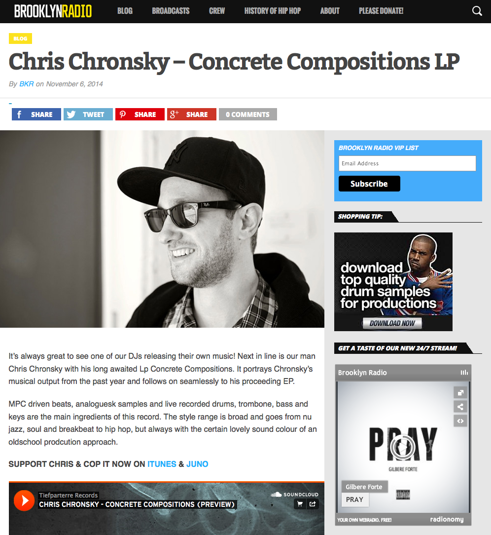 Chris Chronsky at Brooklyn Radio Blog