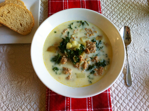 creamy kale & sausage soup | hello, sweetie!
