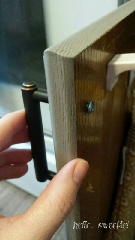 pre-drill holes through front, use screwdriver to secure hardware from back