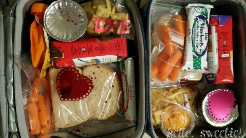 this year's Valentine's lunches, complete with confetti and notes tucked inside