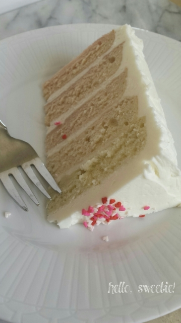"nothing says ""i love you"" like a white almond cake with almond buttercream"