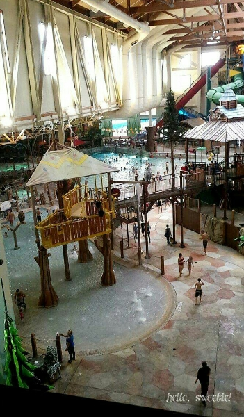 view of the kiddie area, wave pool in distance.