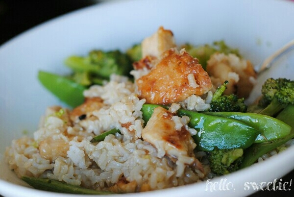 steamed, crunchy broccoli & snow peas are our favorites to mix into lemon chicken