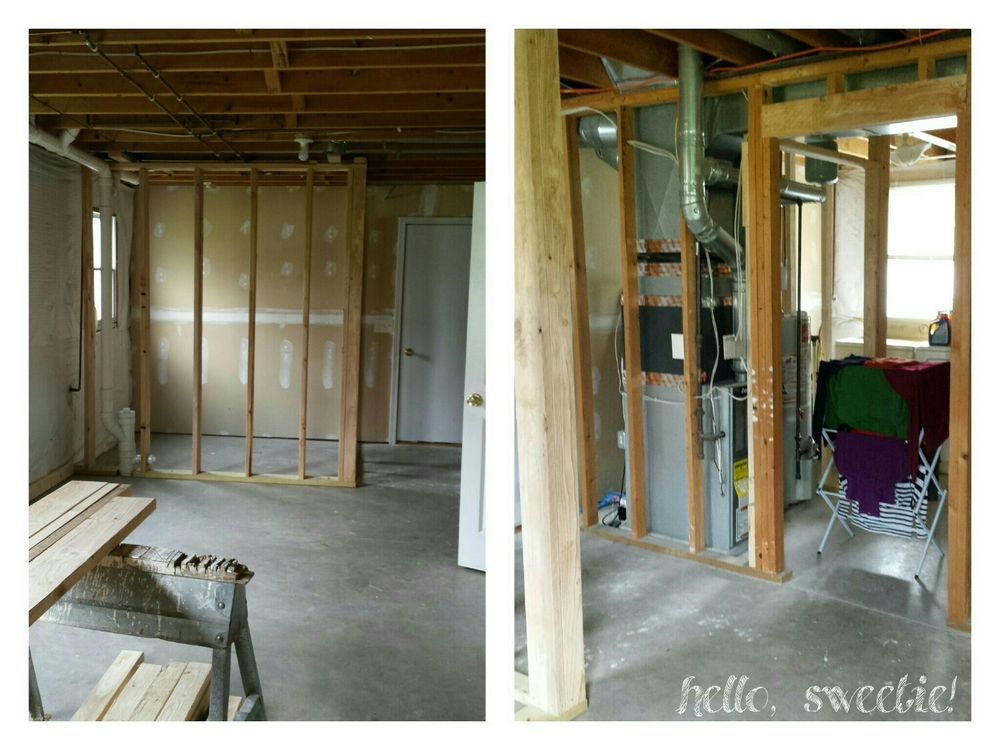 Framing out the laundry & bathroom