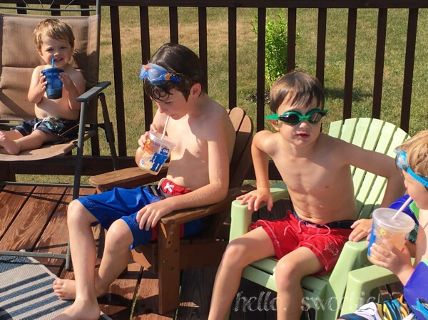 the boys loved their peach-basil slushies poolside!