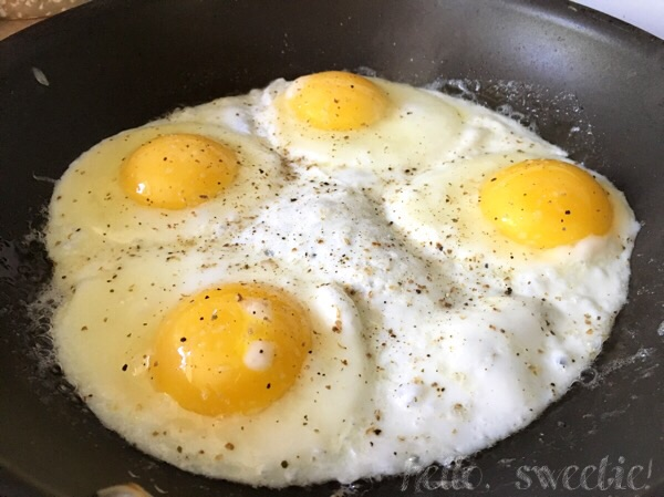 two perfectly fried eggs per sandwich