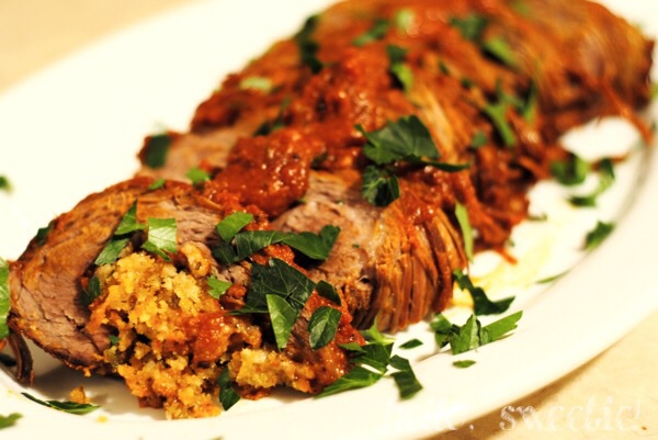 slow-cooked beef braciola stuffed with Italian cheeses, breadcrumbs and garlic