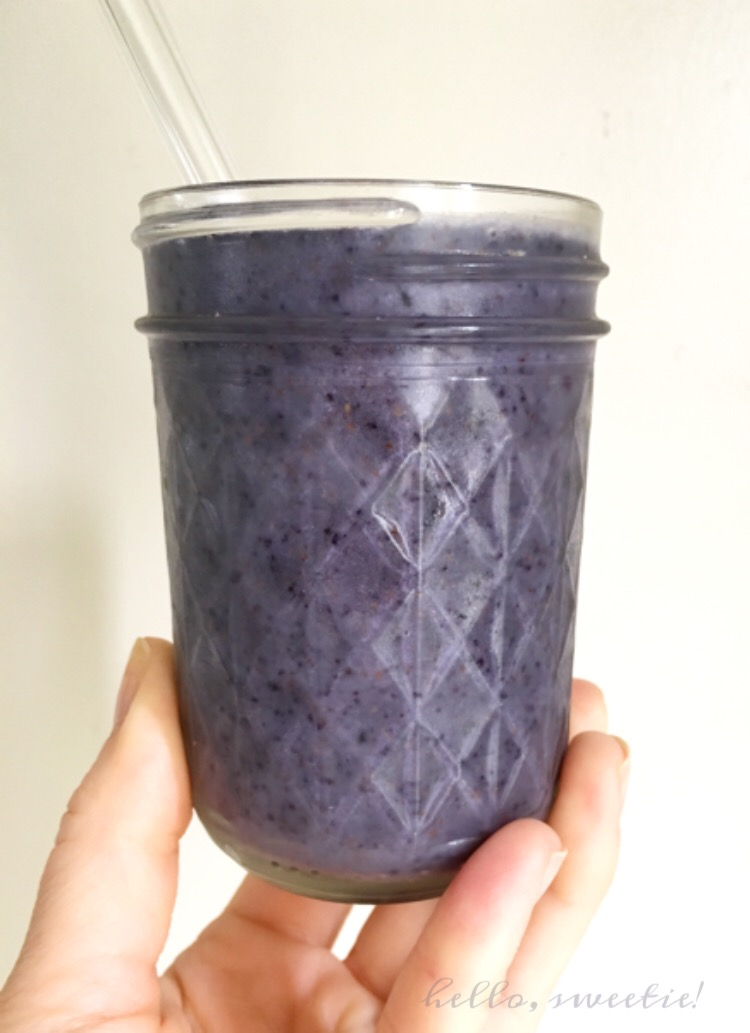 Whole 30 wild blueberry, banana and almond smoothie.