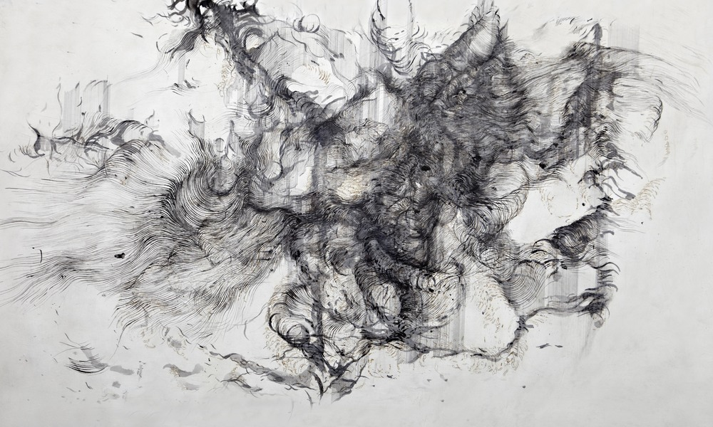 'Untitled',  Ink and burnt gampi paper on watercolour paper , 150 x 90 cm