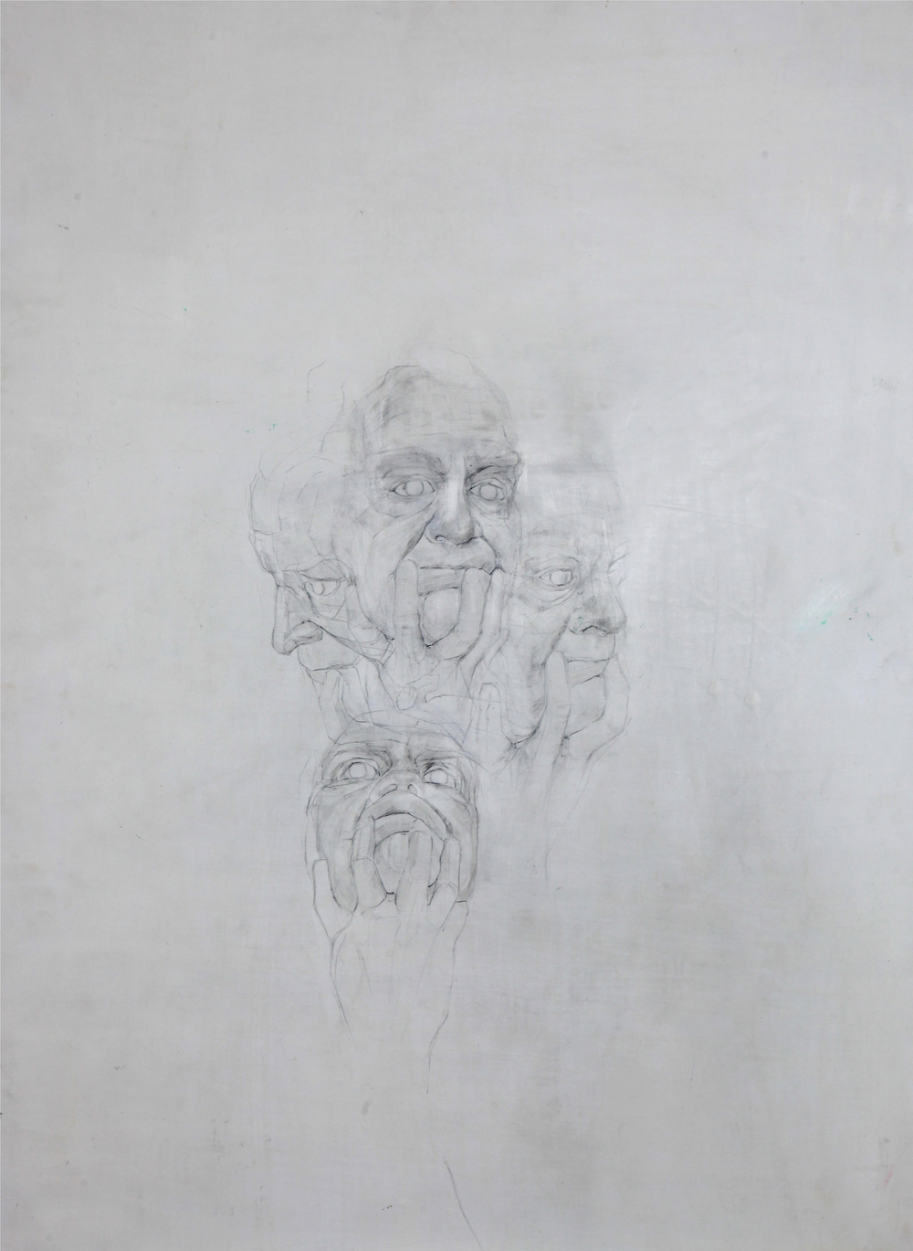 'Between finger and thumb'   Pencil on gesso board, 80 x 60 cm