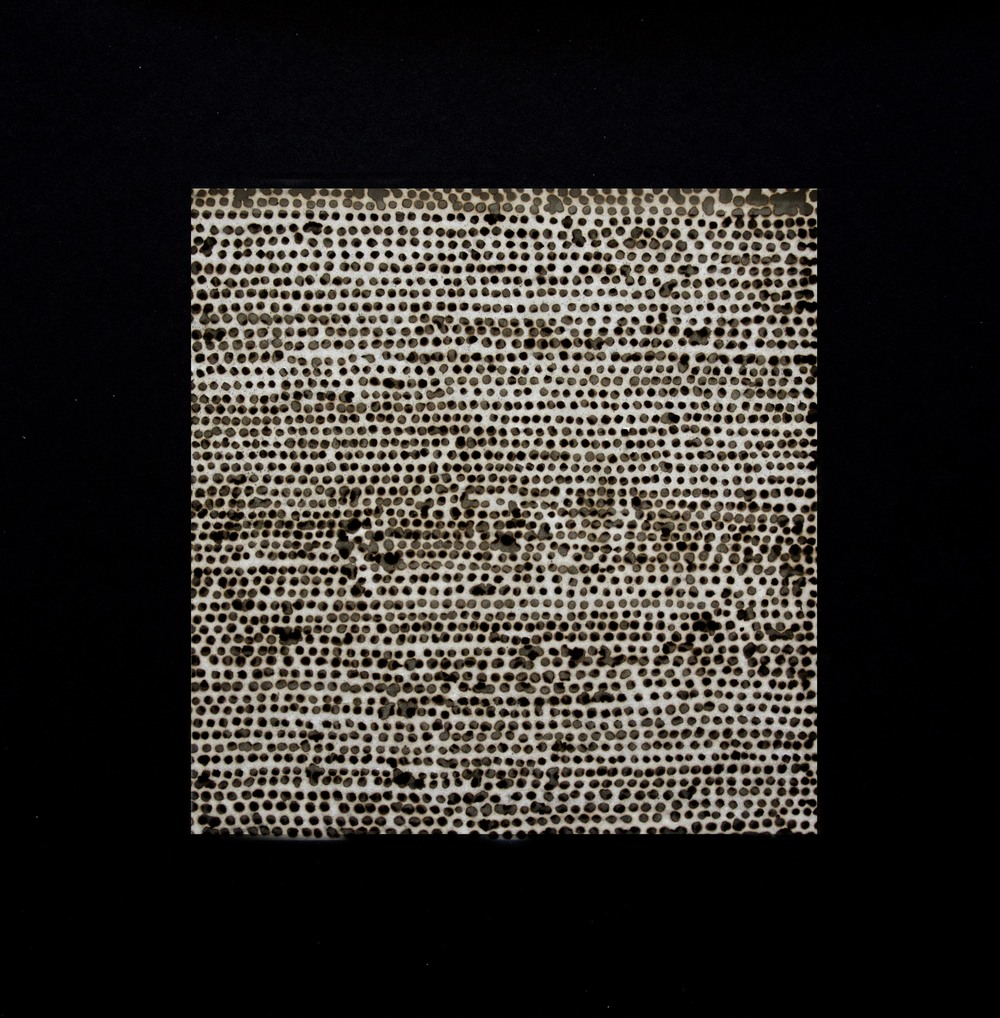 '7200 voids; 2 hour drawing' , two layers of incense burnt rice paper, 30 x 30 cm