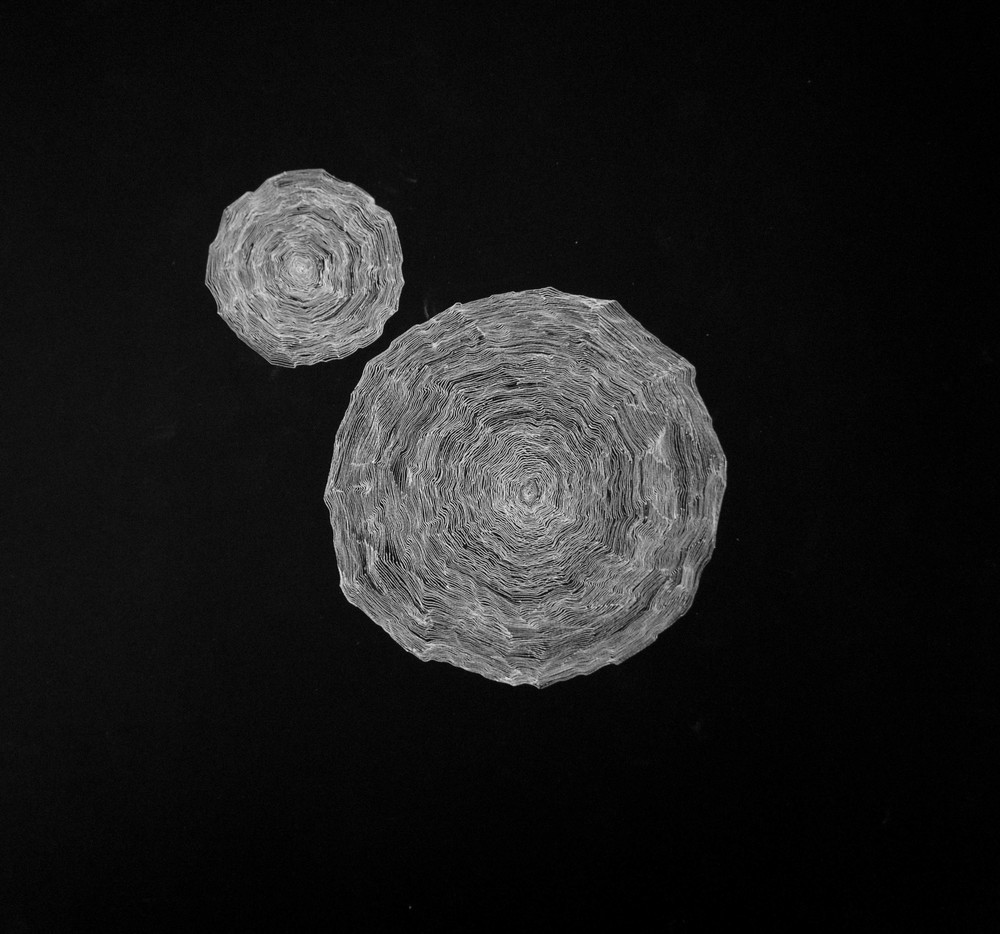 'From a single point', white ink on black paper, 30 x 30 cm