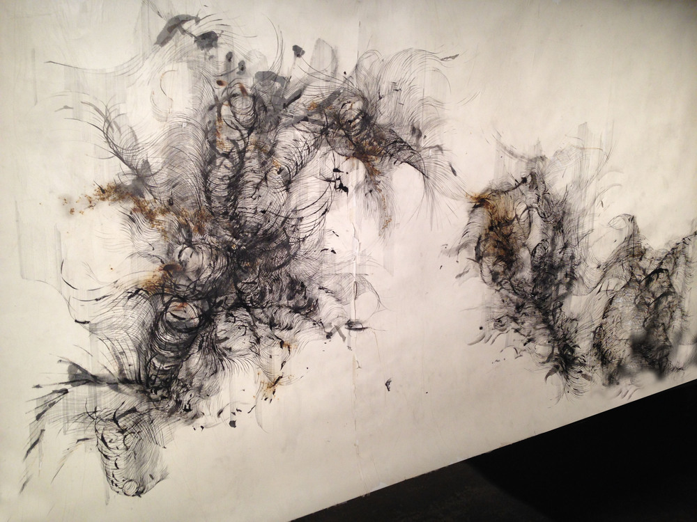 Detail of 'Anatomy of Thought III' , Ink, incense burnt gampi paper and gunpowder , 293 x 150 cm