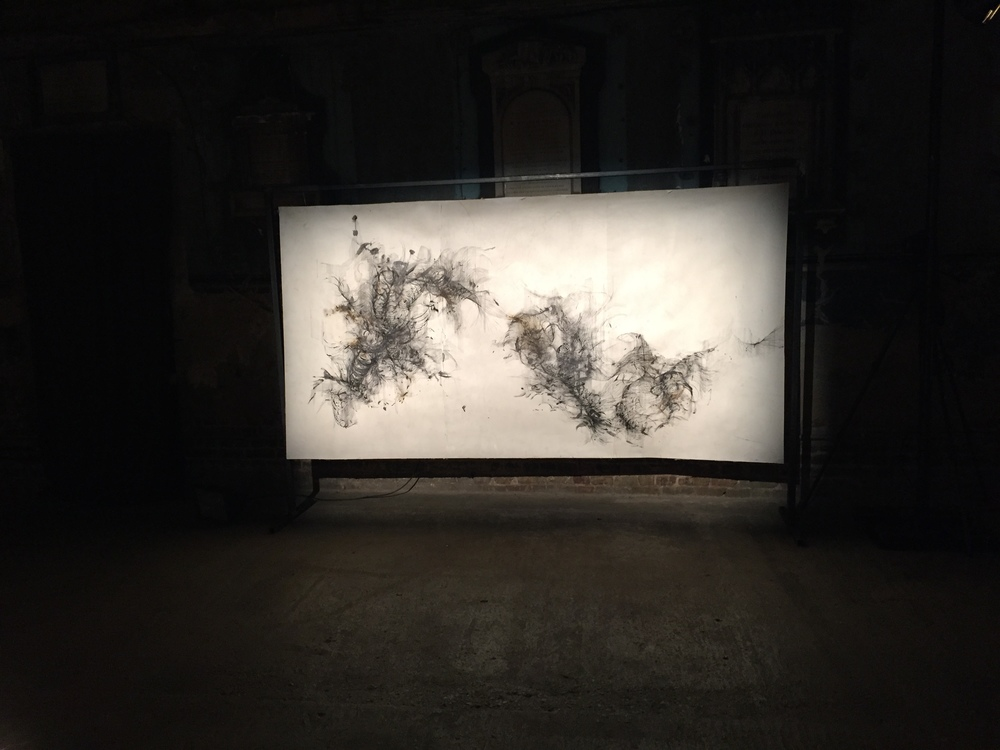 'Anatomy of Thought III' , ink, incense burnt gampi paper and gunpowder, 293 x 150 cm  Installation shot , paper suspended in steel frame